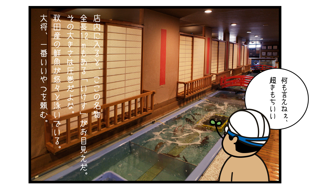 店内に入ると、ここの名物 全長12mもある「いけす」がお目見えだ。その大きさは圧巻だよな。秋田産の鮮魚が悠々と泳いでいる。大将、一番いいやつを頼む。(ひでお水着で)「何も言えねぇ、超きもちいい」